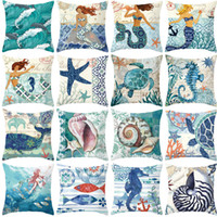 travesseiros de estrela do mar venda por atacado-Pêssego Sereia Pele Fronha Sea Life Starfish Conch Sea Horses Polvo Capa de Almofada Quarto Home Hotel Macio Fronha