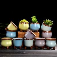 potenciômetros verdes da mini planta venda por atacado-Carnuda Suculenta Mini Potes Cerâmica Bruta 12 Estilos Thumb Flowerpot Personalit Escritório Planta Verde Venda Quente 2 9yj E1