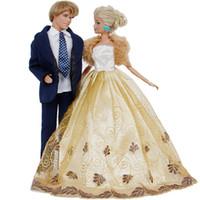 ingrosso abiti da sposa blu-2 Set abiti fatti a mano Abito blu + Abito da sposa Abito da ballo con cappotto Accessori per principessa Accessori per bambole Barbie Ken