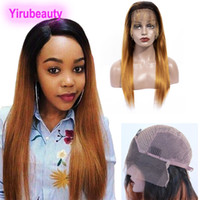 ombre haarspitze vorne malaysisch großhandel-Malaysisches Menschenhaar 1B 30 Ombre Hair Products 10-24 Zoll Lace Front Perücke 1B / 30 Two Tone Lace Front Perücke