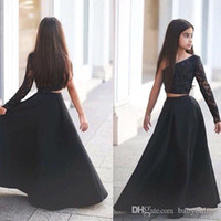 Wholesale wedding dress applique flowers pink for sale - Arabic Said Mhamad Black One Shoulder Long Sleeve Kids Prom Dresses A Line Two Piece Beaded Flower Girls Dresses BA1435