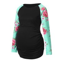 Wholesale maternity breastfeeding clothes resale online - Women s Pregnancy Long Sleeve Floral Splicing T shirt Tops Maternity Clothes pregnant breastfeeding maternity ropa D4