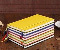 a5 lederne notizbücher großhandel-Klassisches Notizbuch Hardcover-Notizbuch A5 Costom Design College Ruled PU-Leder mit elastischem Taschenverschluss Banded 100sheets SN2299