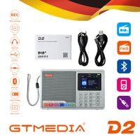 Wholesale mp3 player battery slots resale online - GTMEDIA D2 Portable DAB Radio Digital FM Radio Bluetooth Speaker AUX IN TF Card Slot MP3 Player Recording earphone socket