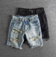 moda kot büyük delik toptan satış-Erkek Moda Jeans 2 Renkler Asya Boyut S-2XL ile Vintaged sıçrayan Mürekkep Büyük Delik Erkek Denim Shorts Yıkanmış
