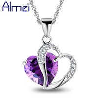 Wholesale china best friend resale online - Almei Love Heart Blue Pink Crystal Pendant Necklace for Women Best Friends Gift Silver Color Long Necklaces Jewelry Bijoux N673