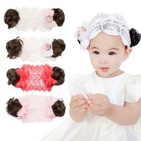 Wholesale curly wigs headbands resale online - 1pcs New Fashion Lace Wig Hair Band Little Flora Crown Children s Bow Headband Baby Toddlers Headwear with Curly Hair