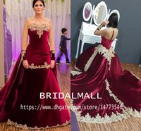 Wholesale red cap sleeve long dress for sale - Group buy Aso Ebi Arabic Burgundy Sexy Mermaid Evening Dresses Lace Beaded Mermaid Sheer Neck Prom Dresses Velvelt Formal Party Bridesmiad Gowns