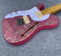 e-gitarre halb hohl links großhandel-Benutzerdefinierte Linkshänder Straße getragen Brad Paisley lila Sparkle TL E-Gitarre Semi Hollow Body Custom Shop China TL Gitarren