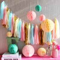 Wholesale birthday wallpaper for sale - Group buy Paper Tassels Pull Flower Wedding Decoration Wedding Room Birthday Ribbon Party Arrangement Color Background Wallpaper Dessert Table