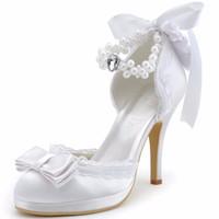 weiße geschlossene zehe kleid schuhe großhandel-Frau Brautschuhe Elfenbein-weiße geschlossene Zehe-Absatz-Knöchel-Bügel-Bogen-Perlen-Satin und Spitze-Abschlussball-Kleid-Brautpumpen A3202C-PF