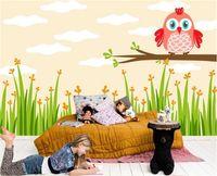 Wholesale owl wallpaper room for sale - Group buy 3d wallpaper custom photo mural wall sticker living room kids room artoon owl rice field d painting picture d wall room murals wallpaper