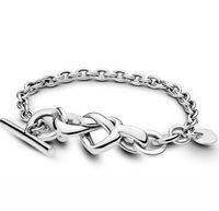 GENUINE 925 Sterling Silver Interlinked Link Heart Fine Bracelet UK New