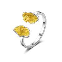 новые кольца из стерлингового серебра оптовых-New Arrivals Pure 925 Sterling Silver Ginkgo Biloba Leaf Rings for Women Adjustable Size Ring Fashion sterling-silver-jewelry