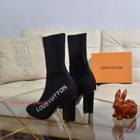 ingrosso calzini invernali di fabbrica-2019 Donna S Knitting Sock Boots nastro Stivaletti Factory Direct femminile il tallone di massima scarpe testa rotonda Autunno Inverno trasporto libero 09174