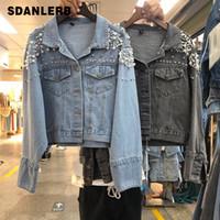 jaqueta jeans contas venda por atacado-2019 Outono Azul Denim Jacket Mulher Novo Estilo Coreano Ombro Contas Casuais Jaqueta Curta Mulheres Jeans Casaco Estudante Rua Outwears