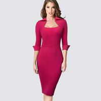 vestidos profesionales de mujer al por mayor-Otoño profesional de las mujeres formal vaina Bodycon delgado elegante trabajo oficina de negocios señora Dress HB471