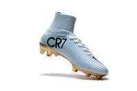 yeni cr7 açık hava ayakkabıları toptan satış-Yeni Geldi whitegold Erkek Cleats Mercurial Superfly VI Şampiyonlar 6 Açık Yüksek Ayak Bileği Futbol Ayakkabıları CR7 SE Mercurials Futbol Boots Cleats