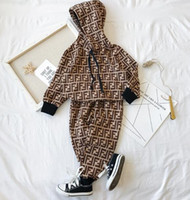 Wholesale toddler girls sweatshirts resale online - Kids Clothing Set Designer tag Girl Boy Sweatshirts Long Sleeve T Shirts Casual Pants Set Toddler Outfit Children Cothing Suit