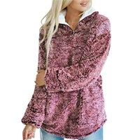 flauschiger pullover pullover großhandel-Frauen Sherpa Pullover Winter Fleece Fluffy Pullover Reißverschluss Rollkragen Pullover Weibliche beiläufige Mantel ziehen SweatersMX191008