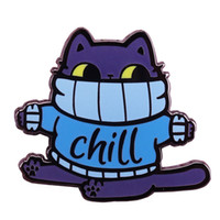 Wholesale kitty pin for sale - Group buy Chill fat cat hard enamel pin cute blue sweater kitty brooch funny winter jewelry Christmas gift