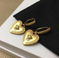 küp ağları toptan satış-Yeni stil kadın moda kişilik net kırmızı kalp küpe Seiko kaliteli Kalp Küpe