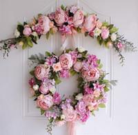 ingrosso corona per matrimoni-Fiori finti artificiali Penoy Wreath Porta appeso a parete Ghirlanda di seta Fiori floreali per la decorazione della casa Natale festa di nozze