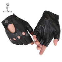 Wholesale half finger leather driving gloves resale online - RITOPER Genuine Leather Semi Fingers Gloves Male Breathable Hole Thin Style Men Half Finger Lambskin Gloves Driving Fishing