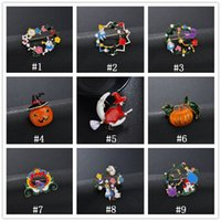 Wholesale china car resale online - 2019 Halloween Enamel Brooches Cartoon Witch pumpkin car Lapel Brooch badge Pin For Women Men Kids Fashion Jewelry accessories