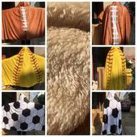 Wholesale designed cloak for sale - 150 CM Blanket Hooded BlanketS Sports Baseball Softball Football Pattern Fleece Throw Wearable Blankets Cloak design KKA6092