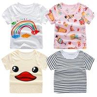 camiseta dos homens unisex venda por atacado-Crianças Meninos Menina Unisex T Shirt Verão Bebê Tops de Algodão Criança Tees Roupas Crianças Vestuário de Impressão T-shirt de Manga Curta Casual Wear