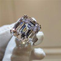 12 mm yüzük toptan satış-Klasik Promise ring 925 Ayar Gümüş Asscher cut 12mm 5A Sona Cz Bildirimi düğün band yüzükler kadınlar için Gelin Takı