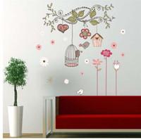 ingrosso decorazioni per uccelli-adesivi murali con buccia e bastone adesivi murali in pvc decorazioni per camerette zooyoo7102 adesivo per casa gabbia per uccelli fiore 50x70