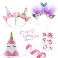 Wholesale unicorn party supplies online - Unicorn Party Headband Girls Favor Mermaid Hair band Unicorn Ribbon Hair bow accessories Birthday kids Party Decoration supplies