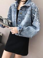 jeans chaqueta corta para mujer al por mayor-Las mujeres Short Denim chaquetas más tamaño suelta los tejanos de Cuentas Chaqueta Mujer lavado capa de la manera Blue Jackets