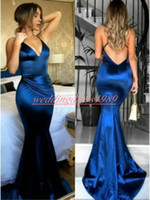 Wholesale girls special occasion dress pink online - Sexy Satin Mermaid Prom Dresses Straps Backless Fitted Black Girl African Robe De Soiree Long Party Wear Special Occasion Evening Gowns