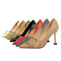 boca metal sexy venda por atacado-Sapatos de Salto Alto OL Feminino de Salto Alto Boca Apontou Fivela de Cinto de Metal Fino Sexy Sapatos Único jooyoo