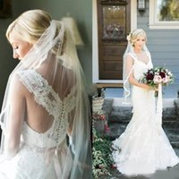 Wholesale lace wedding dress mermaid china resale online - Charming Lace Applique Scoop Mermaid Wedding Dresses With Beads Sash Long Bridal Gowns Plus Size Custom Made China