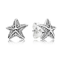 Authentic 925 Silver Starfish Stud Earrings for Pandora CZ Diamond Wedding Jewelry Earring with Gift box Set
