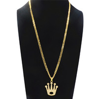 Wholesale geometric necklaces for sale - Group buy Geometric Hollow Big Crown Rhinestone Pendant Necklace For Men Hip hop Long Necklace Fashion Alloy Gold Plated Jewelry Accessories