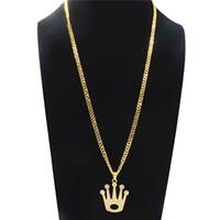 ingrosso ciondoli d'oro grande per gli uomini-Geometrica Hollow Big Crown Collana pendente di strass per gli uomini Hip-Hop Collana lunga lega di moda accessori gioielli in oro placcato all'ingrosso