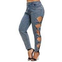 hoch taillierter jeans-reißverschluss großhandel-Wipalo 2018 Neue Frauen Plus Size Hohe Taille Bogen Cut Sides Jeans Mode Reißverschluss Gerade Jeans Weibliche Große Größe 5xl Bottom Y190430