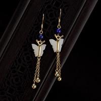 ingrosso oro della farfalla di giada-Orecchini a farfalla placcati oro argento 925 per le donne Jade naturale con nappe lunghe per le donne Gioielli di Natale Bijoux