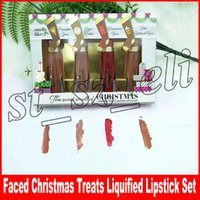 ingrosso rossetti dolci-Rossetto natalizio per il trucco Rossetto profumato per dolci natalizi Set di 4 colori Melted Matte Lip gloss Gift