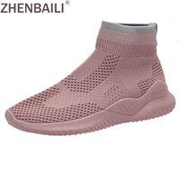 calcetines voladores al por mayor-ZHENBAILI Moda de primavera High Top Zapatillas de deporte planas Fly Knit Upper transpirable Soft Stretch Women Casual calcetín zapatos para caminar calzado