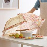 mosquito paraguas al por mayor-Cubierta de comida doblada paraguas cocina de verano contra moscas Mosquito Gadgets Hogar Hexágono Gasa Malla Cubiertas de alimentos