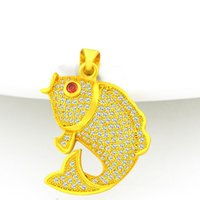Wholesale fish pendant gold chain resale online - Vivid Animal Fish Shaped Pendant Chain K Yellow Gold Filled Lovley Charm Pendant Necklace Gift For Womens Girls