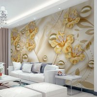Wholesale flowers living room sofa online - Custom Mural Wallpaper For Walls D Diamond Jewelry Flower D Wall Painting Art Living Room Sofa TV Background Photo Wall Paper