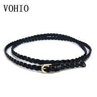 женские косы оптовых-VOHIO Fashion Classic Wild Women rope belt Womens Belt New Style Candy Colors Rope Braid Female For Dress Lady
