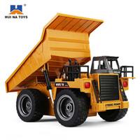 rc rtr al por mayor-HuiNa 1540 RC Truck Toys Seis canales 6CH 1/12 40HMZ Metal Dump Trucks Control remoto Toys RTR con carga Batería camión de aleación
